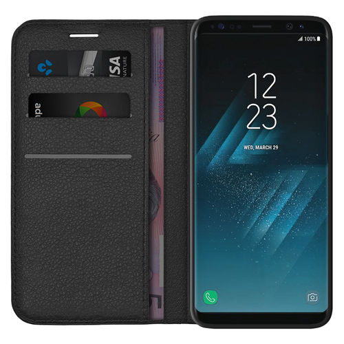 Leather Wallet Case & Card Slot Holder for Samsung Galaxy S8 - Black