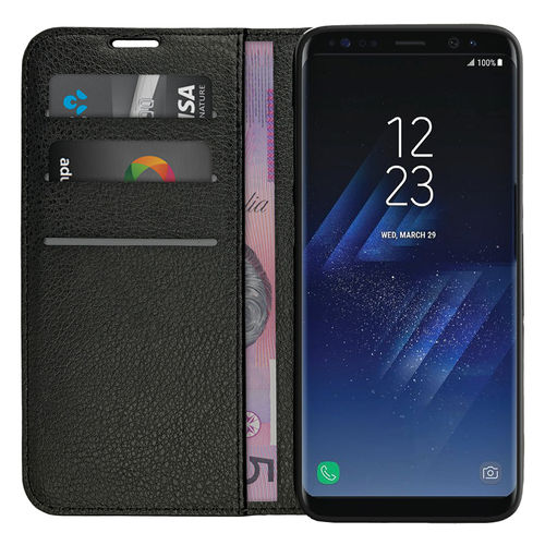Leather Wallet Case & Card Holder for Samsung Galaxy S8 Plus - Black