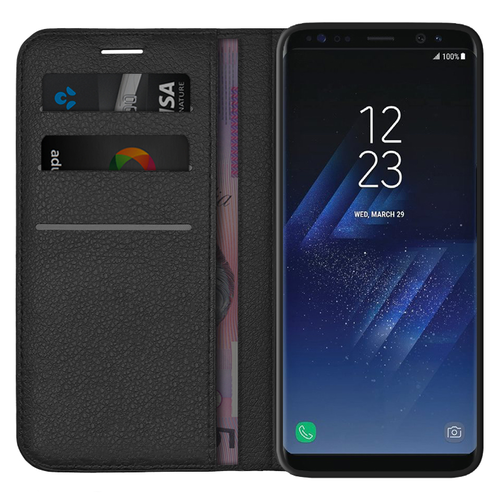 Leather Wallet Case & Card Holder Pouch for Samsung Galaxy S8+ (Black)