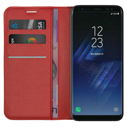 Leather Wallet Case & Card Holder Pouch for Samsung Galaxy S8+ (Red)