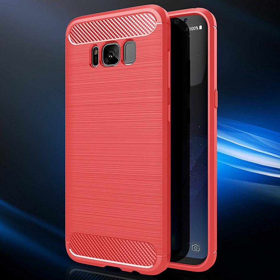 wholesale dealer c6a9d a2a01 Slim Carbon Fibre Tough Case - Samsung Galaxy S8 (Red)