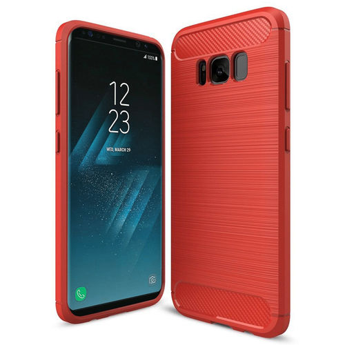 Flexi Slim Carbon Fibre Tough Case for Samsung Galaxy S8 - Red