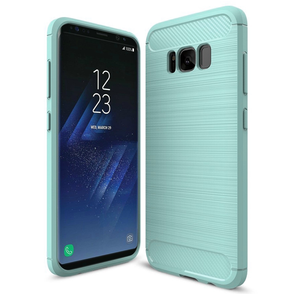 new arrival 90c6f f3863 Slim Carbon Fibre Shockproof Case - Samsung Galaxy S8 (Green)