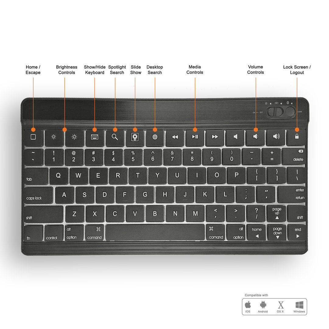 Bluetooth Keyboard Mapping Android: Wireless Bluetooth Keyboard For Apple IPad & Android Tablets
