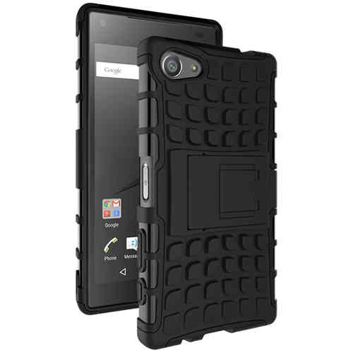 Dual Layer Rugged Shockproof Case for Sony Xperia Z5 Compact - Black