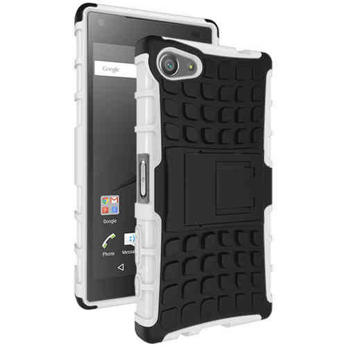 Dual Layer Rugged Shockproof Case for Sony Xperia Z5 Compact - White