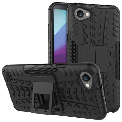Dual Layer Rugged Tough Shockproof Case for LG Q6 - Black