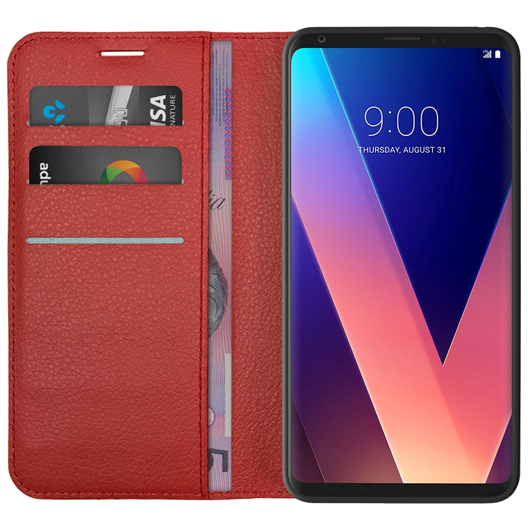 wholesale dealer 8f503 acdec Leather Wallet Case & Card Slot Holder for LG V30+ (Red)