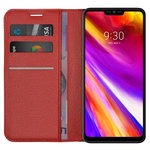 Leather Wallet Case & Card Holder Pouch for LG G7 ThinQ - Red