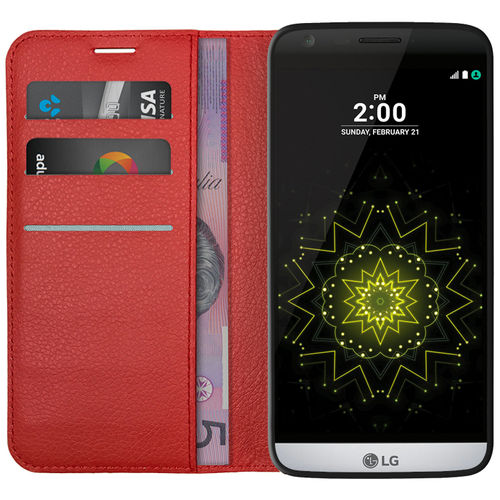 Leather Wallet Case & Card Holder Slot & Cash Pouch for LG G5 - Red