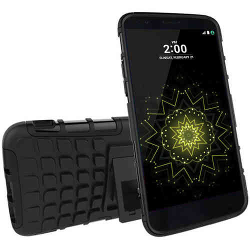 Dual Layer Heavy Duty Rugged Tough Shockproof Case for LG G5 - Black