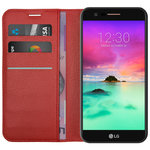 Leather Wallet Card Case for Telstra Signature 2 / LG K10 - Red
