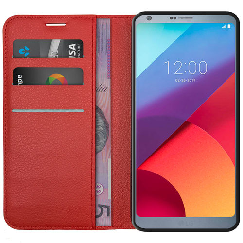 Leather Wallet Case & Card Slot Holder & Stand for LG G6 - Red