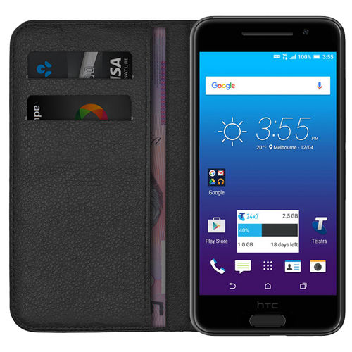 Leather Wallet Case for Telstra Signature Premium / HTC One A9 - Black