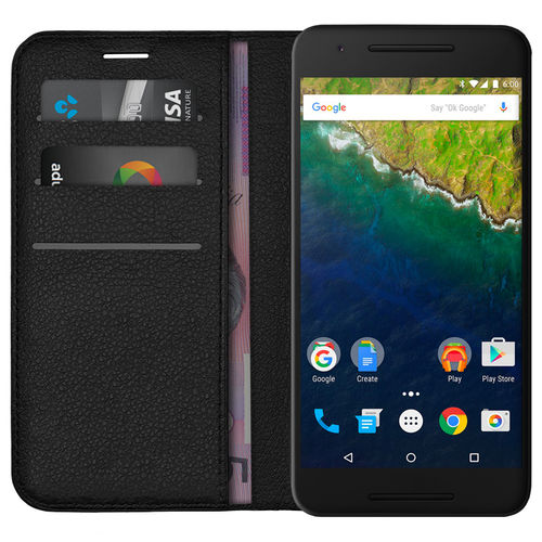 Leather Wallet Case & Card Holder Pouch for Google Nexus 6P - Black