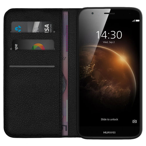Leather Wallet Flip Case & Card Holder Pouch for Huawei G8 - Black
