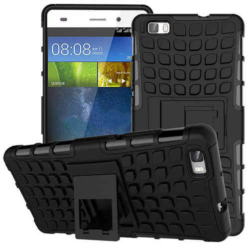 Dual Layer Rugged Tough Shockproof Case for Huawei P8 Lite - Black