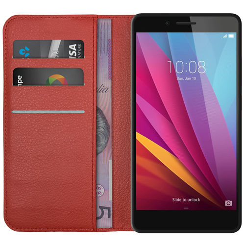 Leather Wallet Case & Card Holder for Huawei GR5 (2015) - Red