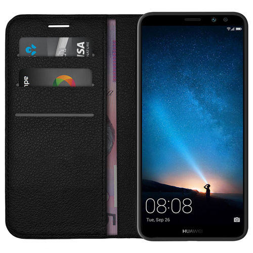 Leather Wallet Case & Card Holder Pouch for Huawei Nova 2i - Black