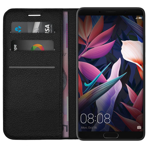 Leather Wallet Case & Card Holder Pouch for Huawei Mate 10 - Black