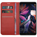 Leather Wallet Case & Card Slot Pouch for Huawei Mate 10 - Red