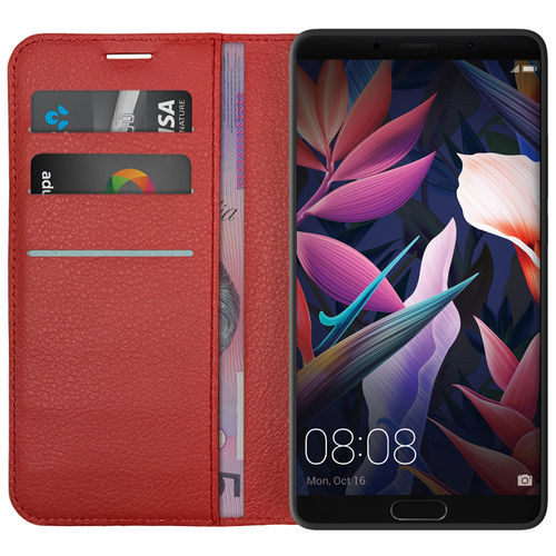 Leather Wallet Case & Card Holder Pouch for Huawei Mate 10 - Red