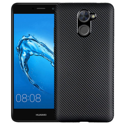 Slim-fit Carbon Fibre Texture Case for Huawei Y7 - Black