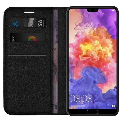 Leather Wallet Case & Card Holder Pouch for Huawei P20 Pro - Black