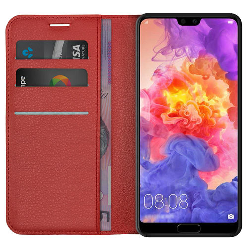 Leather Wallet Case & Card Holder Pouch for Huawei P20 Pro - Red