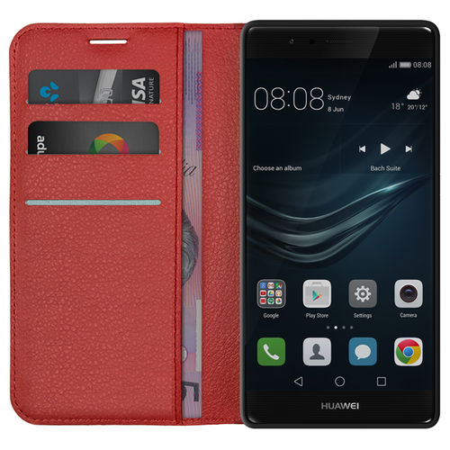 Leather Wallet Case & Card Holder Pouch for Huawei P9 Plus - Red