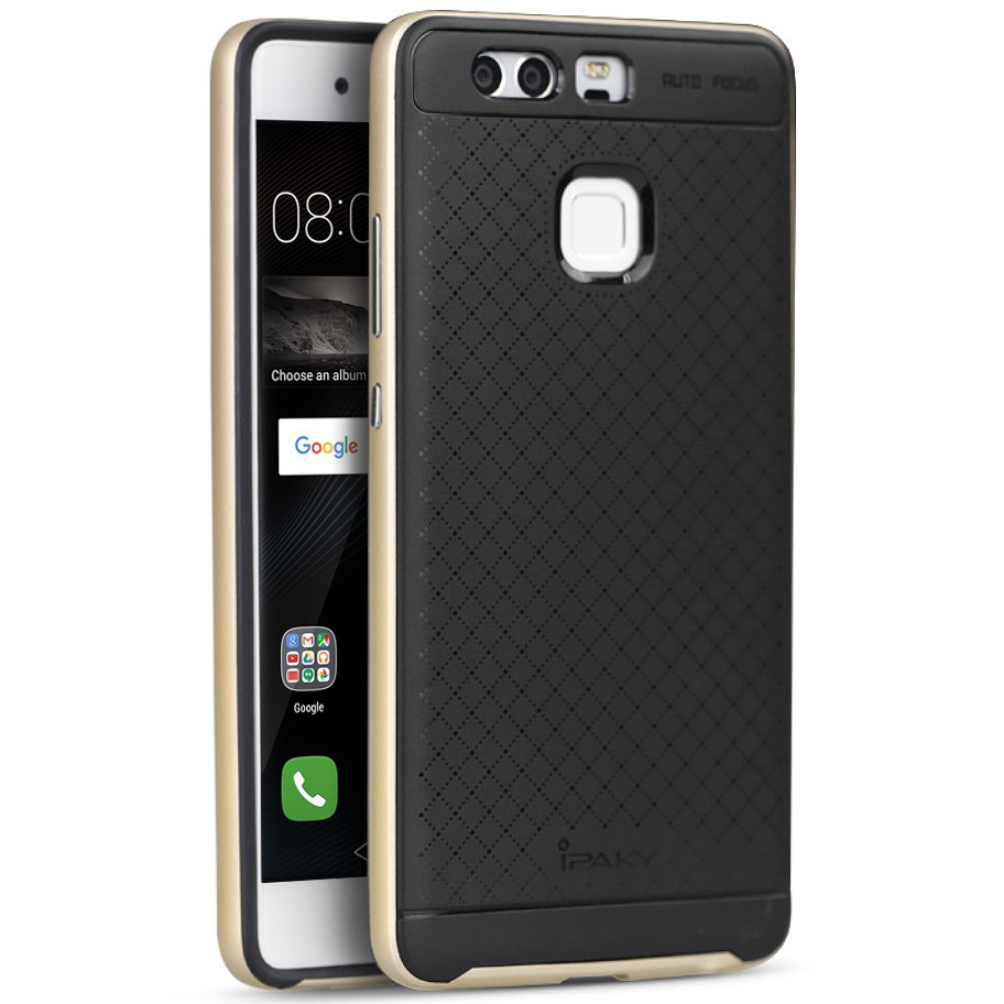 iPaky Hybrid Bumper Frame Case for Huawei P9 - Gold ... 6892ed0e9a87b