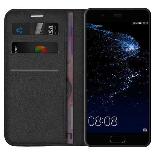 Leather Wallet Case & Card Holder Pouch for Huawei P10 - Black
