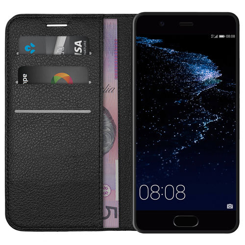Leather Wallet Case & Card Holder & Cash Pouch for Huawei P10 - Black