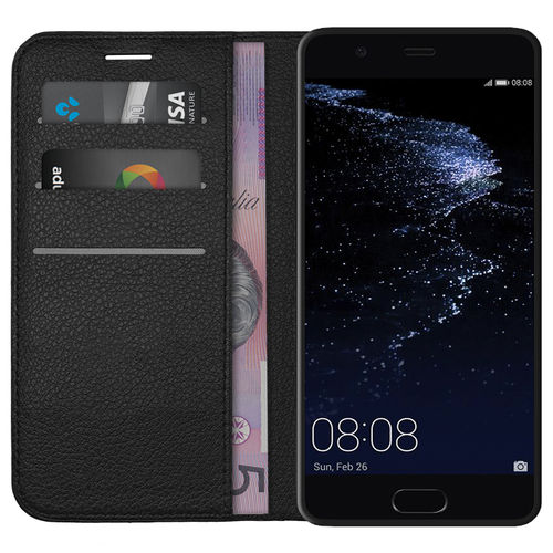 Leather Wallet Case & Card Holder & Pouch for Huawei P10 Plus - Black