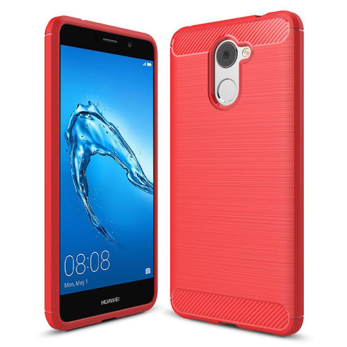 Flexi Carbon Fibre Tough Shockproof Case for Huawei Y7 - Red