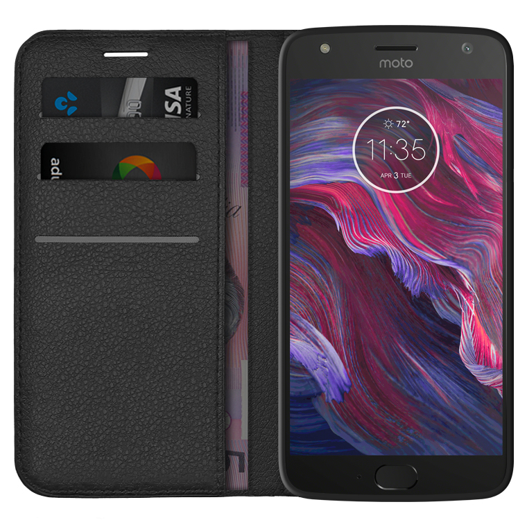 newest 5f0fb be44d Leather Wallet Case for Motorola Moto X4 (Black)