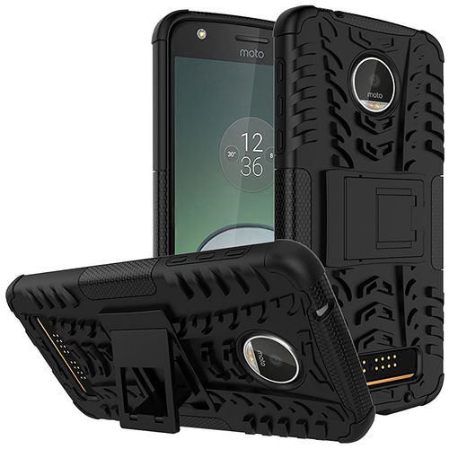 Dual Layer Rugged Tough Case for Motorola Moto Z Play - Black