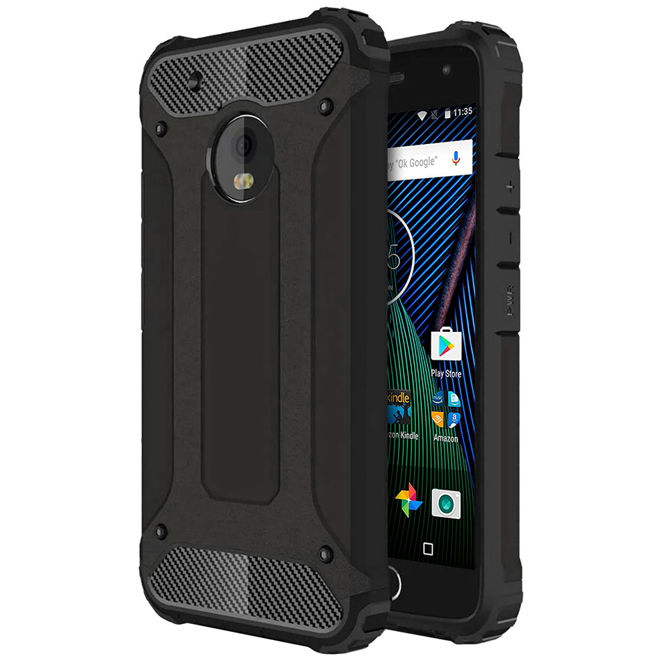 big sale c915d c32f3 Defender Shockproof Case - Motorola Moto G5 Plus (Black)