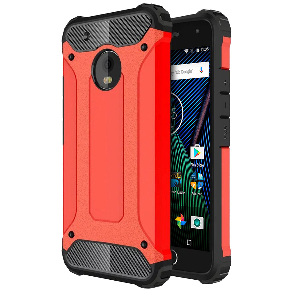 size 40 4a4f3 2be3e Defender Shockproof Case - Motorola Moto G5 Plus (Red)