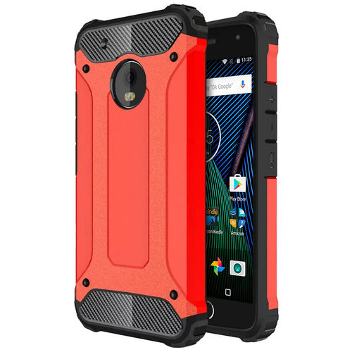 Military Defender Shockproof Case for Motorola Moto G5 Plus - Red