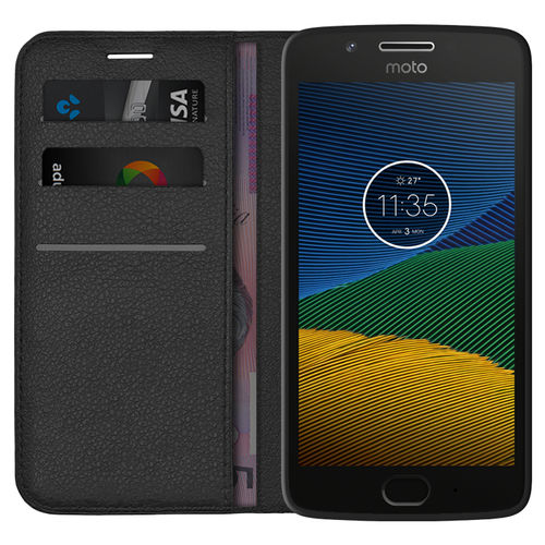 Leather Wallet Case & Card Holder Pouch for Motorola Moto G5 - Black