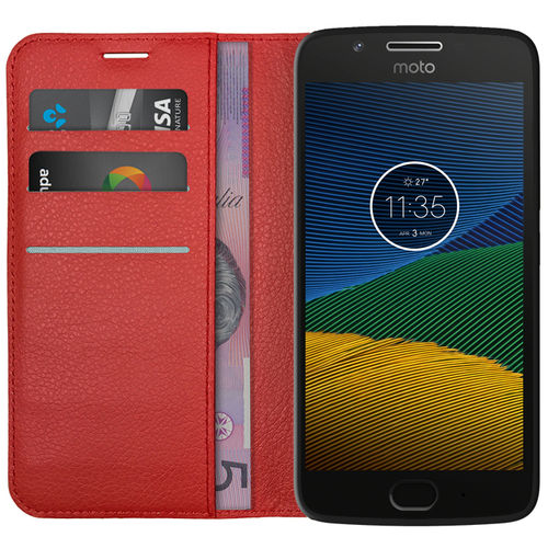 Leather Wallet Case & Card Holder Pouch for Motorola Moto G5 - Red