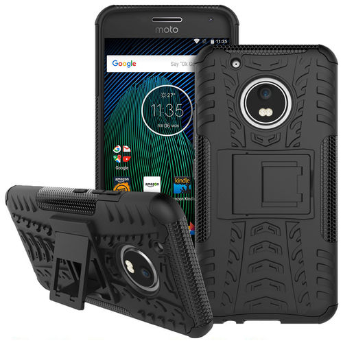 Dual Layer Rugged Tough Case for Motorola Moto G5 Plus - Black