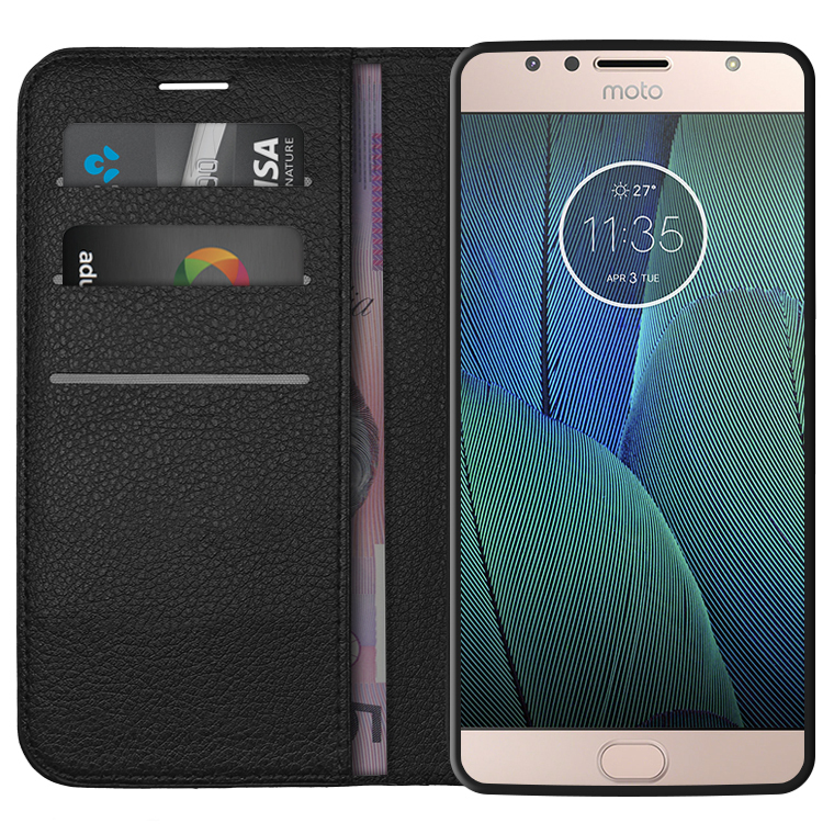 free shipping 9f358 55702 Leather Wallet Case for Motorola Moto G5S Plus (Black)