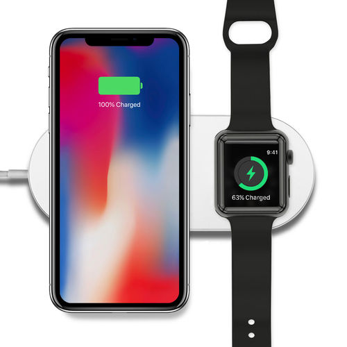 2-in-1 Dual Wireless Charging Mat for Apple Watch / iPhone X / 8 Plus