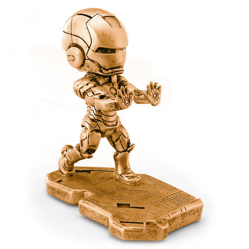 Iron Man Statue Metal Desktop Stand Holder for Mobile Phones - Gold