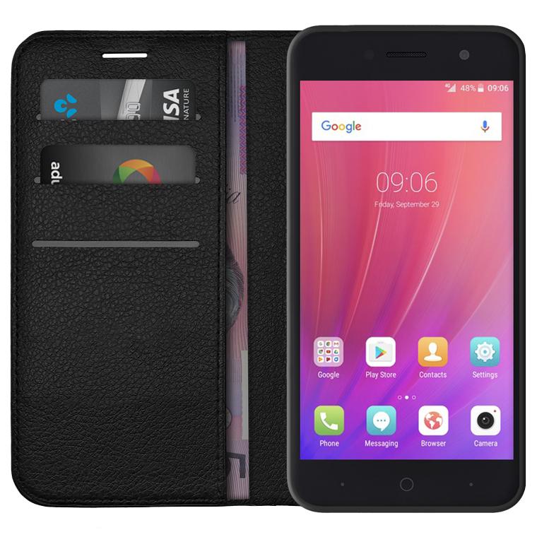 finest selection 0e985 757af Leather Wallet Case for ZTE Telstra 4GX Enhanced A520 (Black)
