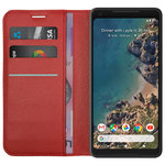 Leather Wallet & Card Holder Case for Google Pixel 2 XL - Red