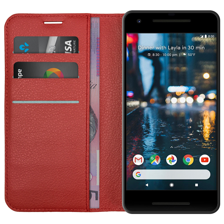 huge discount 7e8b0 15092 Leather Wallet Case for Google Pixel 2 (Red)