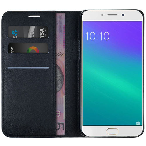 Leather Wallet Case with Card Slot & Cash Pouch for Oppo R9 - Black